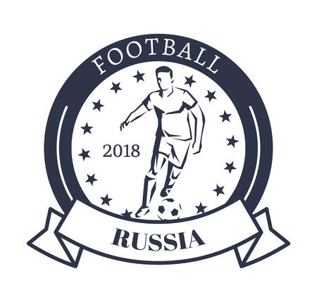 Football Russia 2018 Sporty Logotype with Kicker