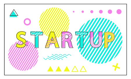 Startup poster with geometric figures in linear style. Abstract dots, colorful circles and triangles, plus signs, waves and lines patterns, vector