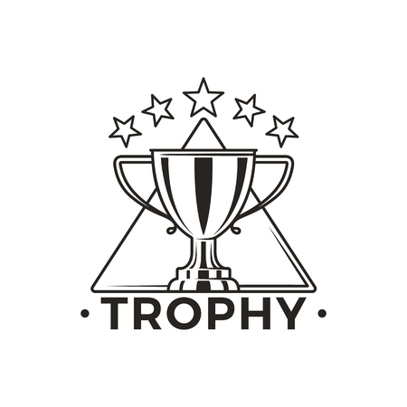 Trophy Cup with Stars Above Monochrome Emblem