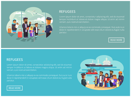 Refugees Collection Web Pages Vector Illustration