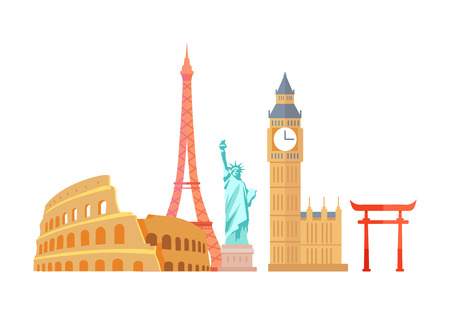 Colosseum and Eiffel Tower Vector Illustration