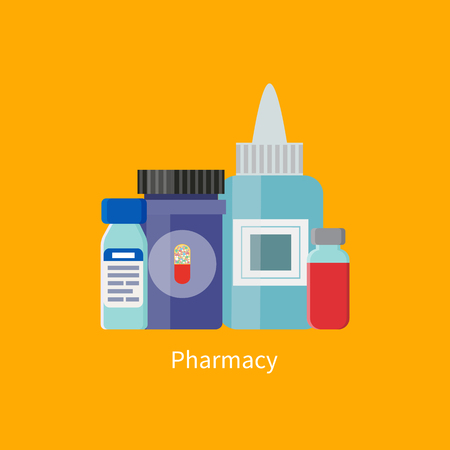 Pharmacy Containers Medication Vector Illustration