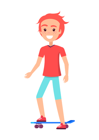 Happy boy blue skate board vector illustration, isolated on white backdrop skateboarder male with orange hair and freckles cheeks, active youth