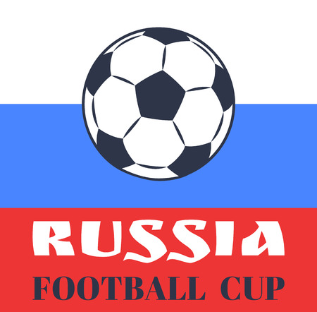 Russia Football Cup with Ball Vector Illustration