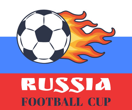 Russia Football Cup and Ball Vector Illustration Zdjęcie Seryjne - 109854496