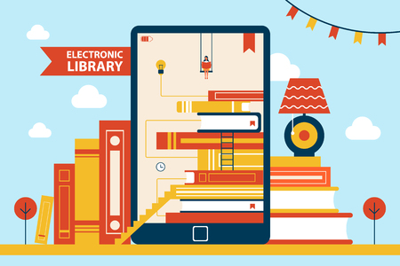 Electronic library and woman swinging while reading newspaper, books collection, celebration flags, poster with headline in ribbon vector illustration Banque d'images - 109838605