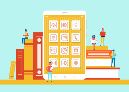 People Small in Size Phone Vector Illustration
