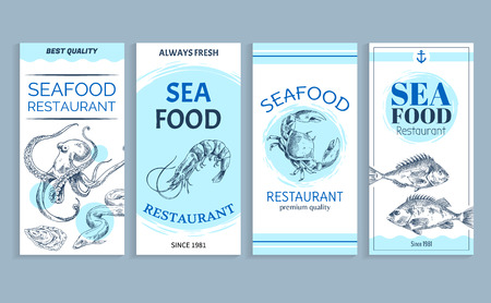 Vector Hand Drawn Seafood Restaurant Banner Set Illustration