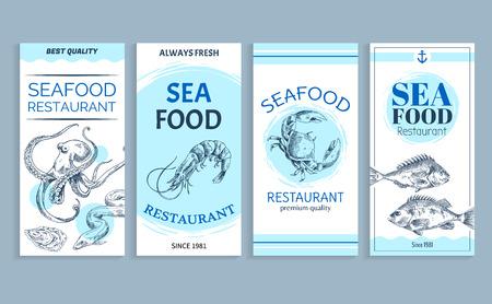 Vector Hand Drawn Seafood Restaurant Banner Set  イラスト・ベクター素材