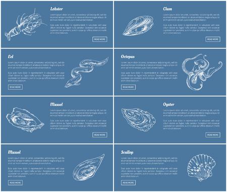 Affiches de pétoncles et d'huîtres mis en illustration vectorielle