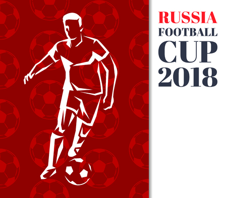 Russia Footballer Poster Title Vector Illustration
