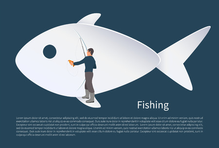 Fisherman with fish on background vector icon. Fisher fishing from flipper of fish icon with rod and just caught carp in hands sport and hobby theme