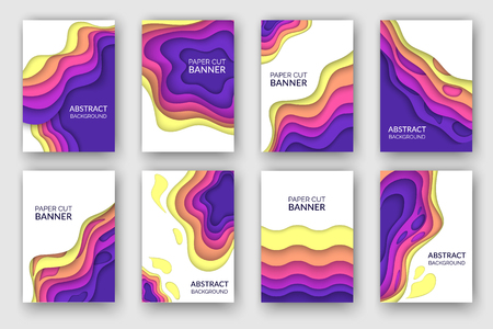 Abstract paper cut wave shapes banner set. Layered curve brochure design for presentations, flyers and posters. Cover leaflet 3D vector illustration