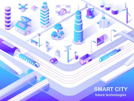 Diagrama de flujo isométrico de la tecnología del futuro de la ciudad inteligente