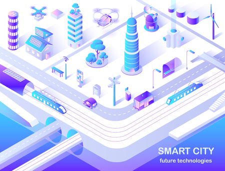 Smart City Future Technology Isometric Flowchart Иллюстрация