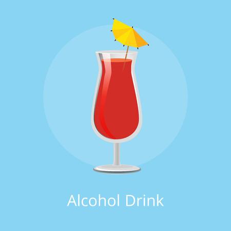 Alcohol Drink Tropical Exotic Cocktail Umbrella Illustration