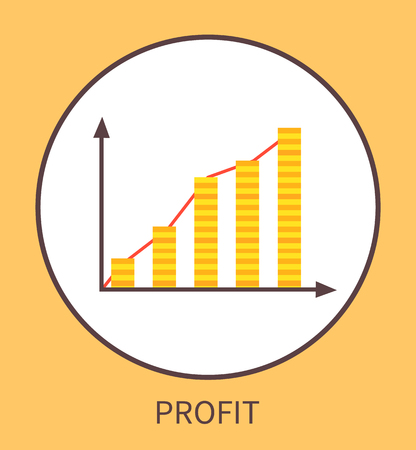 Profit Graphic with Charts in Form of Coin Stacks Illustration