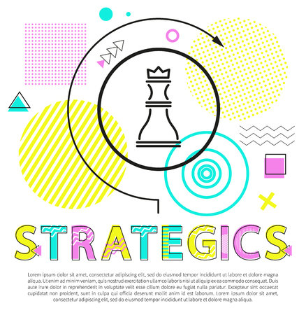 Strategics and steps analyzing vector illustration with geometric figures collection, planning text sample and queen icon surrounded by curved arrow Illusztráció