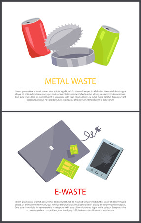 E-waste and metal waste posterrs set, text sample, aluminum cans unlabeled bottles, laptop mobile phone cell, devices collection vector illustration