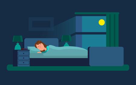 Sleeping Woman in Bedroom Vector Illustration