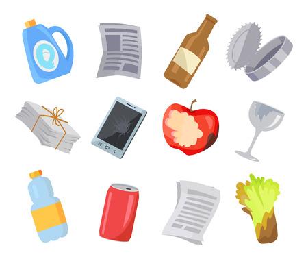 Collection de diverses affiches de couleur d'icônes de déchets