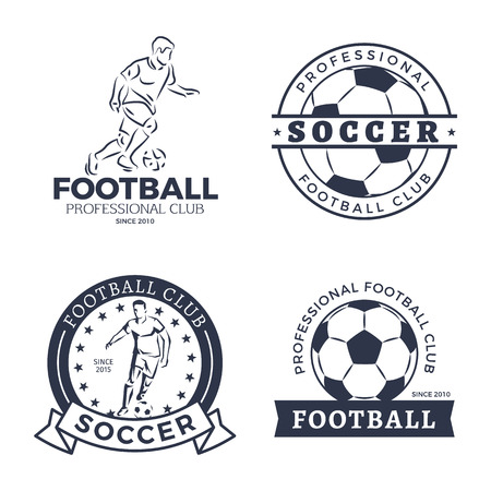 Football and Soccer Player Set Vector Illustration