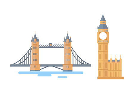 Tower Bridge and Big Ben London attractions famous in world, tourist destinations for visitors of United Kingdom capital set, vector illustration