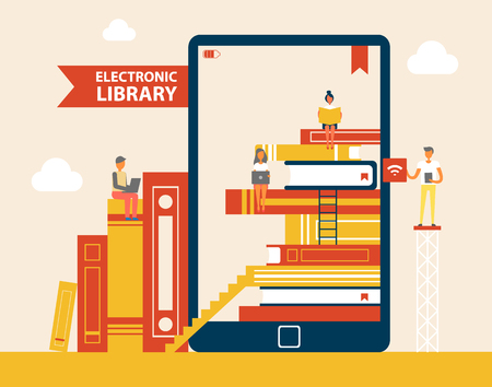 Electronic Library Books Set Vector Illustration Illustration
