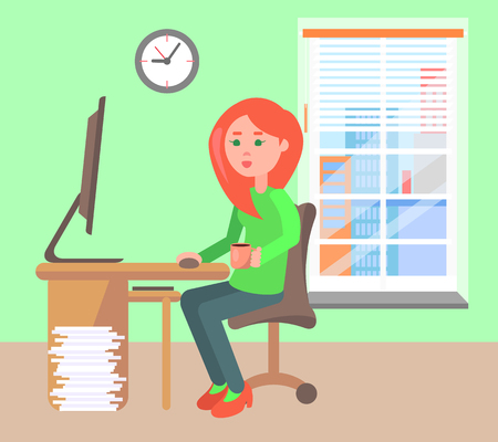 Woman Working Office Daytime Vector Illustration