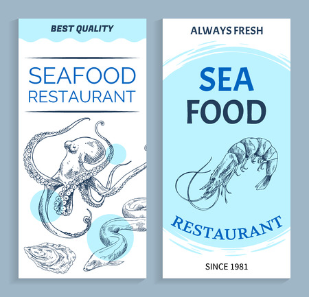 Vector Best Quality Seafood Restaurant Banner Set