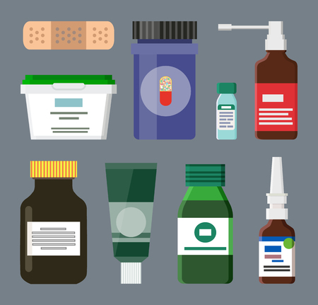 Medicine Bottles and Box Set Vector Illustration