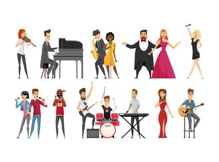 Hobby del musicista persone impostare illustrazione vettoriale Vettoriali