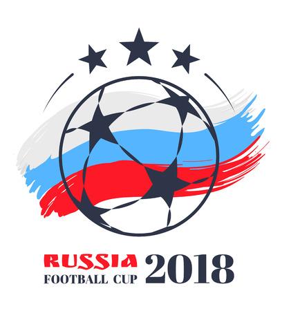Russia Football Ball Poster Vector Illustration