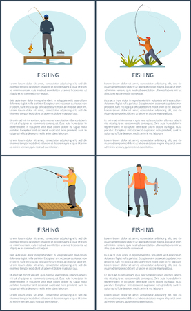 Fishing posters men set. People catching fish banners. Male sitting on wooden construction by river or lake with rod, fishery hobby vector illustration Illusztráció