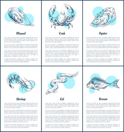 Shrimp and Crab Posters Set Vector Illustration  イラスト・ベクター素材