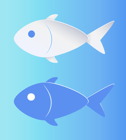 Contrast Color Fish Silhouette Isolated on Blue