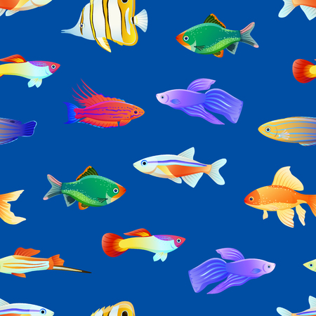 Varicoloured Marine Creatures Seamless Pattern