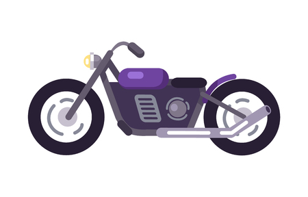 Purple scooter design with exhaust pipe, motorized modern motorbike model, vehicle for ride to work, vector illustration stylish bike icon isolated