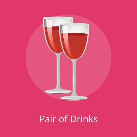 Pair of Drinks Winery Refreshing Merlot Beverages Stock Vector - 109939846