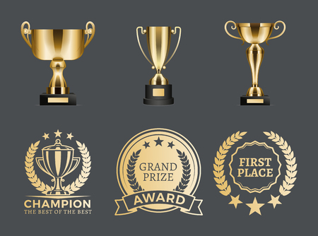 Champion Prizes Collection Vector Illustration 向量圖像