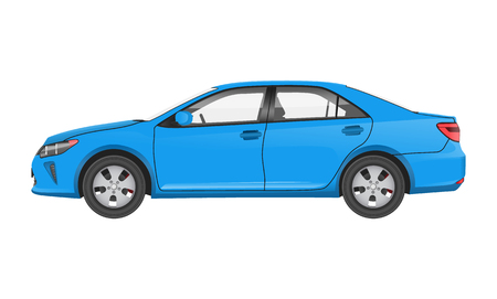 Practical Modern Car in Blue Corpus Side View