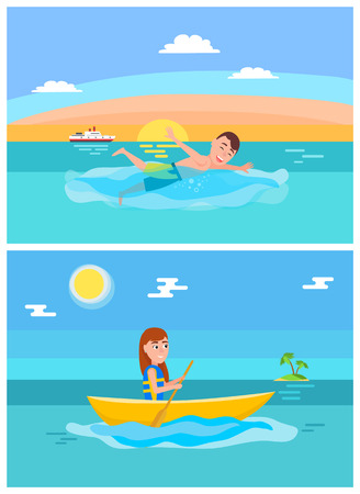 Summer lifestyle collection, summertime sport of swimming or boating, girl with ora, ship and island, palm trees vector illustration isolated on blue. Illustration