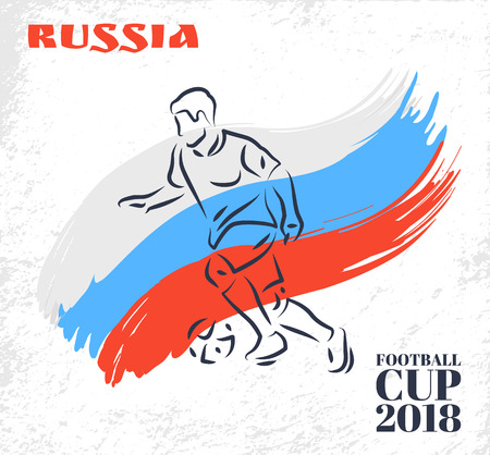 Russia Football Cup Player Vector Illustration