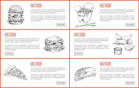 Large juicy burger and cheesy pizza, Chinese noodles and chopsticks, chicken nuggets with dip and stuffed taco. Sketch style landing pages vector set.