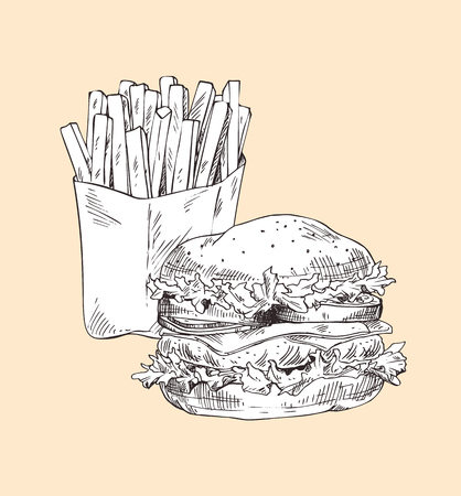 Hamburger and french fries monochrome sketches outline icons set. Fried potatoes combined with big burger made of bun and meat vector illustration