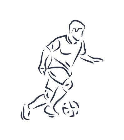 Footballer Running with Ball Vector Illustration Ilustrace