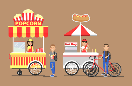 Popcorn and Hot-dog Street Cart with Vendors Set