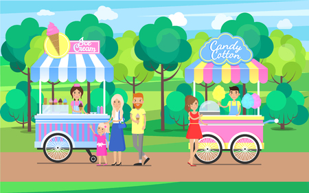 Candy Cotton and Ice Cream Sweet Food Mobile Shops Illustration
