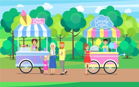 Tiendas móviles de dulces y helados de algodón de azúcar Ilustración de vector