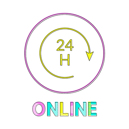 Online all day in linear outline style vector